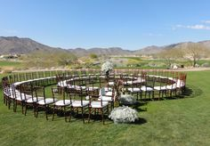One of the best ways to set your wedding apart from the rest is to simply rearrange some chairs. Instead of walking down the straight traditional aisle, try setting up the chairs in a spiral. This way you can walk past each friend and family member all the way up to the alter.