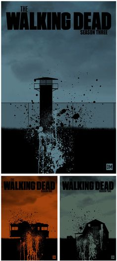 "The different ""homes"" in the past 3 seasons of The Walking Dead: Dale's RV, Hershel's Farm, and The Prison. The Walking Dead Poster Series by Daniel Mead"
