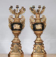 Pair French Empire Ormolu Candelabras