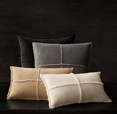 Exposed Seam Pillow Covers. I kind of really like this- too cowboy for you??? In the ivory or sand...