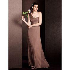 Vestido de dama de honor Hasta el Suelo Seda Corte Recto Solo Hombro Vestido – USD $ 99.99