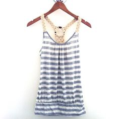 Forever 21 White & Grey Striped Racerback Tank Top CONDITION: NWT - new with cut tags  // DESCRIPTION: From Forever 21/Michelle, White & grey striped tank top, wooden and woven racerback strap detail, great for spring and summer  // *From non-smoking home // *Currently NOT accepting trades // *Please feel free to leave any questions! THANK YOU! Forever 21 Tops Tank Tops