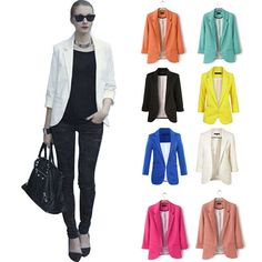 Candy Colors Fashion Ladies Suit Blazer Jacket Casual Ol Slim Solid Coat Outwear