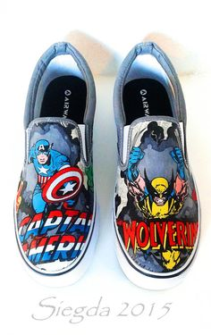 6cd681dce40 Marvel Comic Book-Mens Slip On-Hulk-X-men-Captain America-Iron Man-Spiderman -Wolverine-Xmen-Custom Decoupage Shoes-boyfriend gift-