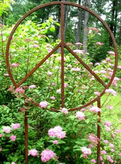 Outdoor Peace Sign Garden Sculpture on Etsy, $110.00