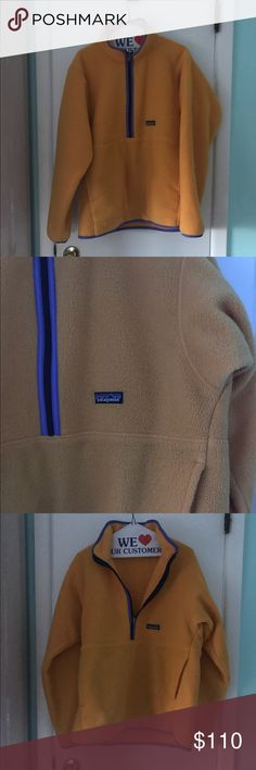 Patagonia retool zip pullover Great vintage Patagonia. Color is just like the first and third picture, burnt yellow with purple accents. Men's size M. Great condition-hard to find this quarter zip in the color. Comes from a smoke free home, just dry-cleaned. Open to realistic offers! Patagonia Tops Sweatshirts & Hoodies