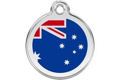 Red White and Blue Down Under Australian Animal Tag Charm Custom Engraved Name and Telephone Number