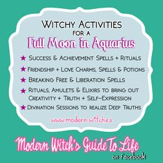 ★ Best types of Magic to work on this Full Moon in Aquarius★