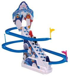 The Penguin Race II playset includes 3 racing penguins and requires 2 AA batteries for amazing escalating action!