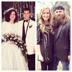 Willie & Korie Robertson wedding photo; before beard and with beard! lol