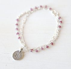 Layered Heart Initial Plumberry Bracelet