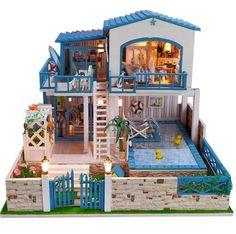 Miniatura bricolaje Villa Music Box modelo Kit miniatura artesanal Kit cumpleaños regalos de Navidad a los niños las mujeres juguete Asamblea casa de muñecas modelo