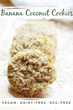 Family-friendly and easy to make, these banana coconut cookies are a great little sweet treat for big and little bellies alike. Healthy Snacks To Make, Healthy Sweet Treats, Healthy Cookies, Good Healthy Recipes, Vegan Snacks, Delicious Recipes, Vegetarian Recipes, Healthy Food, Best Dessert Recipes