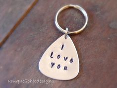 Personalized key chain Sister key chain Sibling key chain Silver key chain Hand stamped Name key chain Personalized gifts Guitar Pick Gifts for Men by Mens Valentines Gifts, Valentines Day Wishes, Fathers Day Gifts, Valentine Ideas, Guitar Picks Personalized, Personalized Gifts, Silver Anniversary Gifts, Gift Card Giveaway, Chains For Men