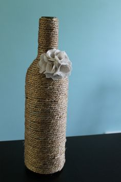 Twine Covered Glass Bottle Embellished with by WhiteBlossomHill, $15.00