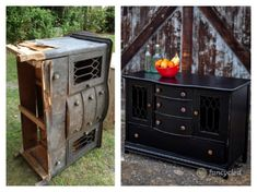Black Broken Buffet Makeover by FunCycled  www.funcycled.com