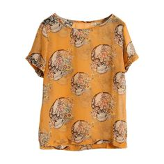 Skull Print Orange Blouse ($24) ❤ liked on Polyvore