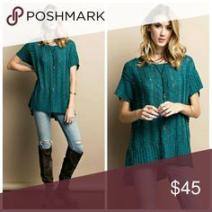 Teal Sweater Tunic Soft and cozy, short sleeve, round neck, rib textured chunky tunic, side vents. Sweaters