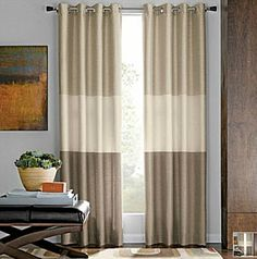 "Living Room - Trio Grommet curtains in the neutral trio. 95"" long x 50"" wide. $54.99 at JcPenney"