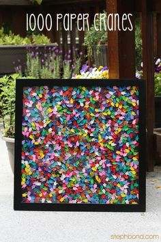 A great way to display one thousand origami cranes. According to Japanese folklore, the person who folds 1000 paper cranes will be granted one wish by the crane.