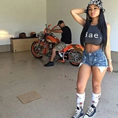 high socks babe high waisted shorts motorcycle bae cropped converse bucket hat…