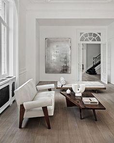 White with dark wood, furniture