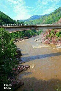 Awesome view of beautiful Bridge over Jhelum river & valley Azad Kashmir Pakistan