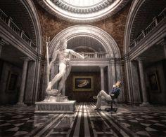 Ilustración 3D - Speedy - Desarrollo de ambiente 3D (museo y estatua).