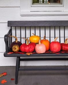 lovely pumpkins on bench