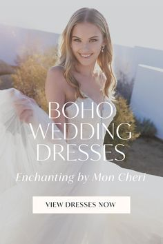 Your wanderlust heart just skipped a beat. Featuring dreamy lace detailing, breezy tulle skirts and laidback A-line silhouettes, boho wedding dresses from Enchanting by Mon Cheri are destined to capture your romantic wedding day dreams. Check out all of our bohemian looks at the link now! Destination Wedding, Wedding Day, Tulle Skirts, Bohemian Look, Bohemian Wedding Dresses, Mon Cheri, Rehearsal Dinners, Vows, Enchanted