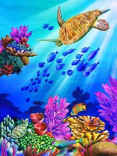 Carolyn Steele Solid-Faced Canvas Print Wall Art Print entitled Riding the beam Sea Life Art, Sea Art, Canvas Wall Art, Wall Art Prints, Canvas Prints, Tatoo Manga, Sea Murals, Sea Drawing, Underwater Painting