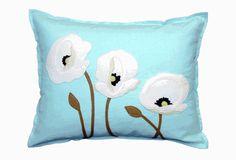 Sandor Applique Poppy Trio pillow - White on Glacier $84 14x18