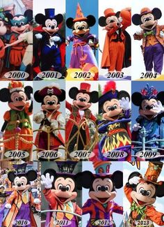 Mickey Mouse through the years in many outfits.