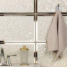 Versace Acqua Cornice Crema Oro 10x30 Ceramic Tile | TileBar.com Ceramic Tiles, Cornice, Bath Inspiration, Room Tiles, Interior Tiles, Stone Tile Backsplash, Ceramic Design, Bar Tile, Inside Design