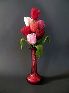 Spring Tulips Bouquet French Beaded Flowers by copperglass