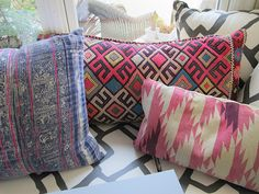 beautiful textiles. wish i knew where they were from. perhaps from hello interwoven?