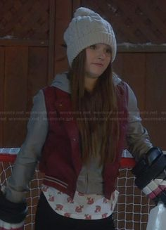 Eve's red and grey leather hooded jacket and fox print shirt on Last Man Standing Leather Jacket With Hood, Leather Jackets, Kaitlyn Dever, Tv Show Outfits, Fox Print, Last Man Standing, Red And Grey, Cara Delevingne, Printed Shirts