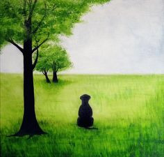 Dog Art- Just Waiting For You To Come Home So I Can Lick Your Whole Face -Signed Fine Art Print - black lab painting