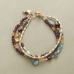 """GEMSTONE PARTY BRACELET -- Garnets gather with labradorites, apatites and citrines plus beads of sterling silver and 14kt gold filled. Three strands close with a lobster clasp. Ours exclusively, handmade in USA. 7-1/2""""L."""