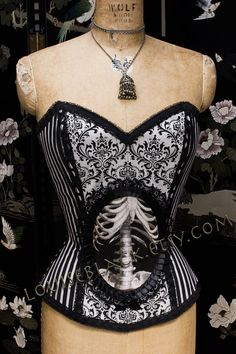 Corsetry: Custom Skeleton Cameo Corset(Overbust) by Louise Black. $239.99.