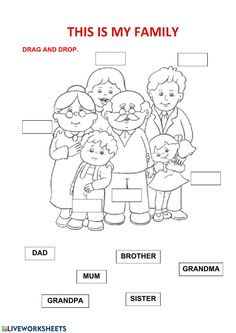 My family Language: English Level/group: Primaria School subject: English as a Second Language (ESL) Main content: Family members Other contents: English Activities For Kids, Learning English For Kids, English Worksheets For Kids, English Lessons For Kids, Kids English, 1st Grade Worksheets, Preschool Learning Activities, Preschool Worksheets, Teaching English