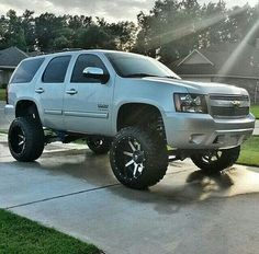 "Lifted Trucks Bigger Than Godzilla, They Are Cooler Than You Thought! If you' were to define the phrase ""truck"" in one word, what might it be? 4x4 Trucks, Diesel Trucks, Lifted Trucks, Cool Trucks, Chevy Trucks, Cool Cars, Lifted Tahoe, Lifted Chevy, Chevrolet Suv"