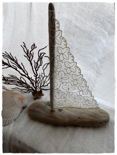 pizzo e legno di mare per una vela - Sailboat Driftwood Beach Decor - Vintage Lace Sail