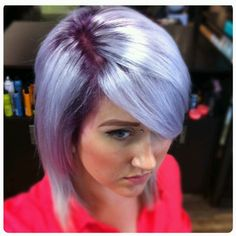 Violet roots and lavender silver ends i had a few years ago.