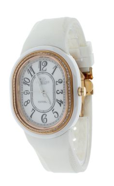 Oniss ON626-LRG/WH Women's Watch Oval Case Rose Gold Crystal Accented Bezel White Rubber Strap