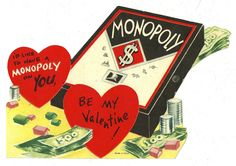 "Monopoly Board Game ""I'D Like to Have A Monopoly on You"" Vintage Valentine Card 