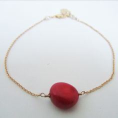 Magic Bean Bracelet in 14K Gold Fill and Red Coral by Oncefound  Available at: www.oncefound.co.uk