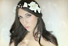 Flower Crown, Ivory White, Wedding Tiara, Bridal Hair Wreath, head wreath, fairy, woodland - HOLLY -. $55.00, via Etsy.