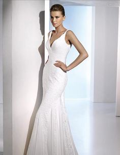 Elegant V-neck Embroidery Sweep Fold Lace Wedding Dress
