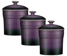 Superior Set Of 3 Purple Storage Canisters Tea Coffee Sugar Spice Jars Stoneware  Ovenlove